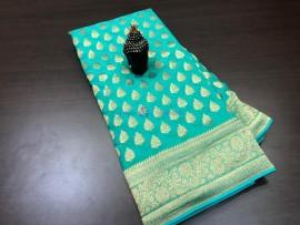 Aqua blue pure Khaddi Banarasi Georgette Sarees