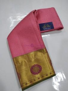 Peach pink and green pure kanchipuram silk sarees