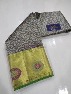 Dark grey and green pure kanchipuram silk sarees