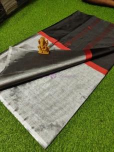 Black pure cotton tissue sarees