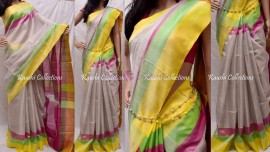 Cream with multicolor border pure cotton tissue sarees