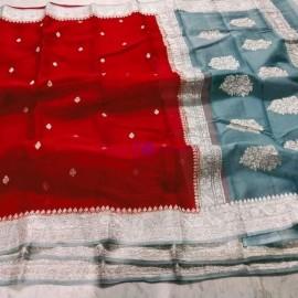 Red and grey pure chiffon banarasi sarees