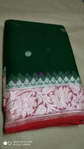 Bottle green pure chiffon banarasi sarees