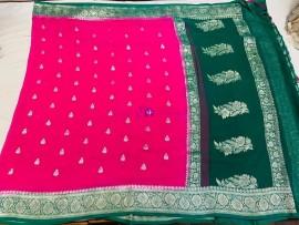 Dark pink and dark green pure chiffon banarasi sarees