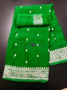 Green pure chiffon banarasi sarees