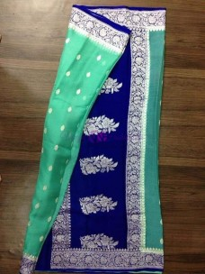 Sea green and navy blue pure chiffon banarasi sarees