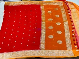 Red and orange pure chiffon banarasi sarees