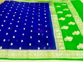 Royal Blue with green pure chiffon banarasi sarees