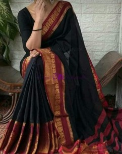 Black and maroon red Narayanpet cotton sarees