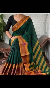 Dark green and mustard narayanpet cotton sarees