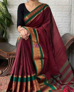 Maroon red narayanpet cotton sarees