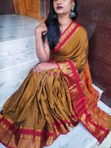 Dark mustard Narayanpet cotton sarees