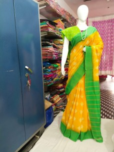 Mango yellow and green ikkat Cotton sarees