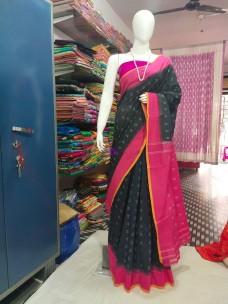 Black and dark pink ikkat Cotton sarees