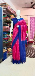 Dark pink and blue ikkat Cotton sarees