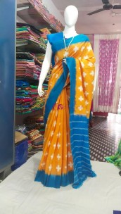 Orange and light blue ikkat Cotton sarees