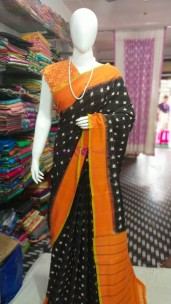Black with orange ikat Cotton sarees
