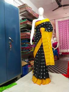 Black and mustard yellow ikkat Cotton sarees