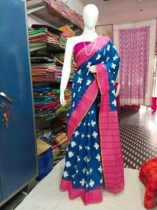 Navy blue and pink ikat cotton sarees