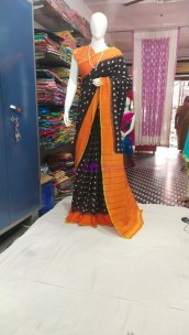 Black with orange ikkat Cotton sarees