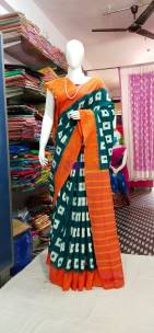Dark green and orange ikkat Cotton sarees