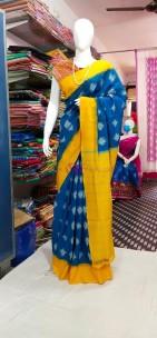 Blue with mustard ikkat Cotton sarees