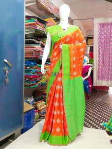 Orange and green ikkat Cotton sarees