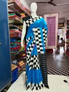 Light blue and black ikat cotton sarees