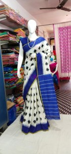 White with dark blue ikkat Cotton sarees