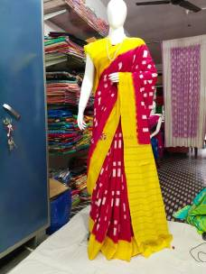 Red and yellow ikkat Cotton sarees