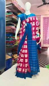 Dark magenta and blue ikkat Cotton sarees