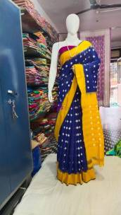 Dark Navy blue ikkat Cotton sarees