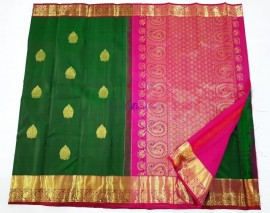 Dark green and pink pure kanchipuram silk sarees