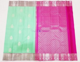 Aqua green and pink pure kanchipuram silk sarees