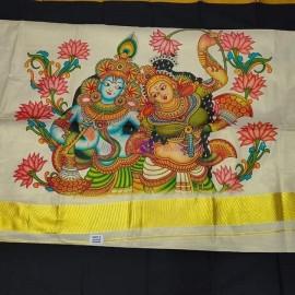 Mural printed gold tissue sarees 10