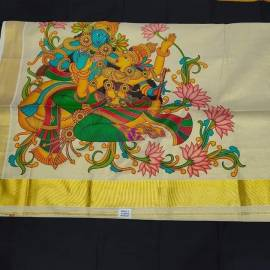 Mural printed gold tissue sarees 9