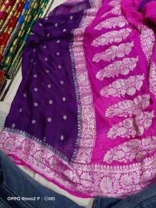 Dark purple and dark pink pure banarasi chiffon sarees