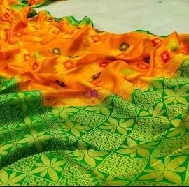 Mango yellow and green banarasi semi pure silk Georgette sarees