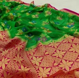Green and pink banarasi semi pure silk Georgette sarees