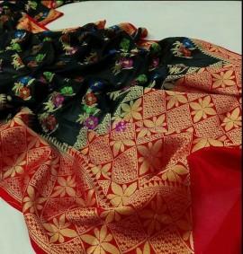 Black banarasi semi pure silk Georgette sarees