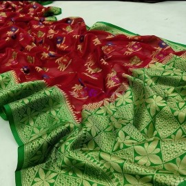 Maroon red and green banarasi semi pure silk Georgette sarees
