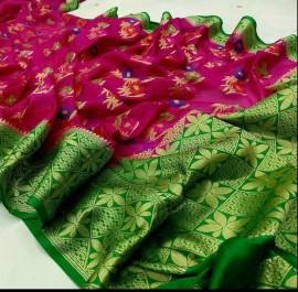Dark pink and green banarasi semi pure silk Georgette sarees