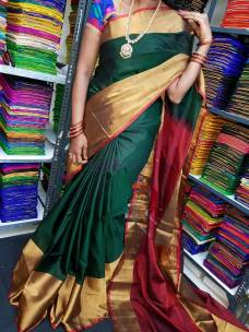 Bottle green and maroon red uppada pattu big border sarees