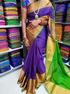 Purple and green uppada pattu big border sarees