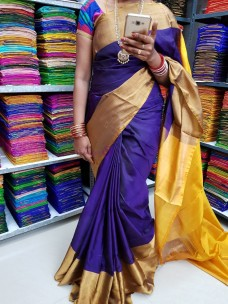 Navy blue and yellow uppada pattu big border sarees