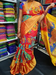 Red uppada silk printed sarees