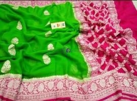 Green and pink pure banarasi khaddi chiffon sarees