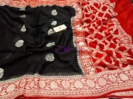 Black and red pure banarasi khaddi chiffon sarees