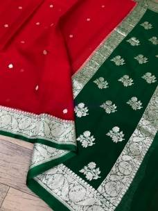 Red and dark green pure banarasi chiffon sarees