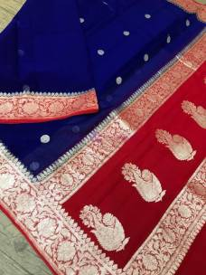 Dark blue and red pure banarasi chiffon sarees